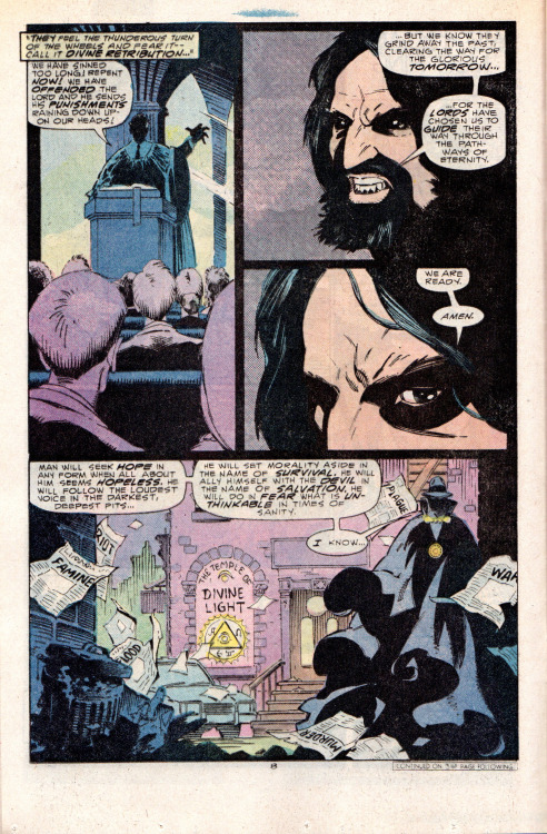 Then there was the time that the Phantom Stranger had to suit up to fight Charles Manson. Paul Kupperberg script. Dream team of Mike Mignola and P. Craig Russell on pencils/inks.  From the 1987 PHANTOM STRANGER miniseries.