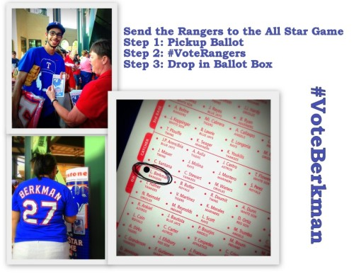 Make sure to #VoteRangers for the 2013 All Star Game, when you come to the Ballpark or at home by visiting www.texasrangers.com/vote  #VoteBerkman as the American League DH.