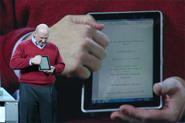 "Steve Ballmer: ""This is a prototype of a coming HP Slate PC that will be here this year."" Meanwhile:  Lee had no comment on what features the watch may have, how much it would cost and when it would go on sale."