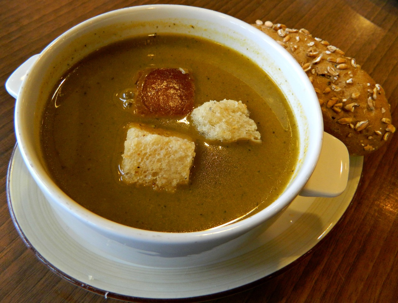 Vegetable soup with croutons and wholegrain sunflower seed bread.