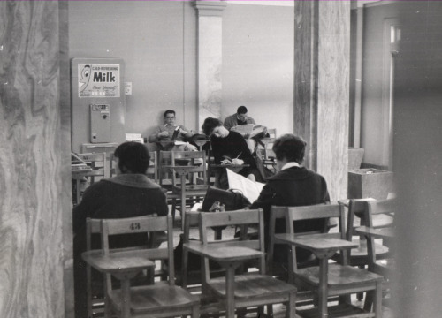 """Perhaps some milk will help you study."" Memorial Library, 1965. Madison, Wisconsin. From: The University of Wisconsin Archives"