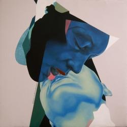 art painting kiss contemporary art color Abstract figurative Bushwick abstract painting Beata Chrzanowska New York Artist bushwick artist