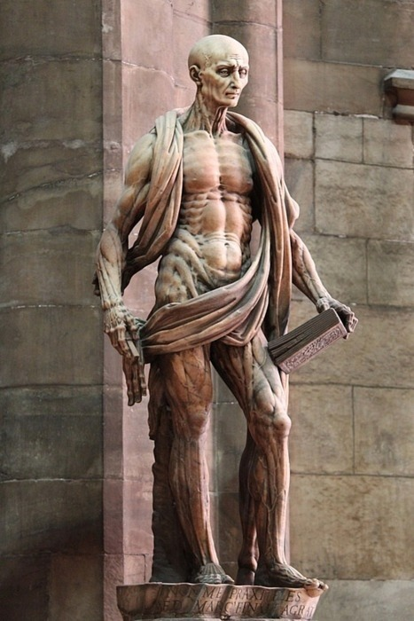 unexplained-events:  This sculpture is by Marco d'Agrate, 1562 (Duomo cathedral, Milan-Italy) This is a sculpture of St. Bartholomew who was an Apostle that was said to be skinned alive. If you look closely you will notice that his robe is actually not a robe at all, but his skin.
