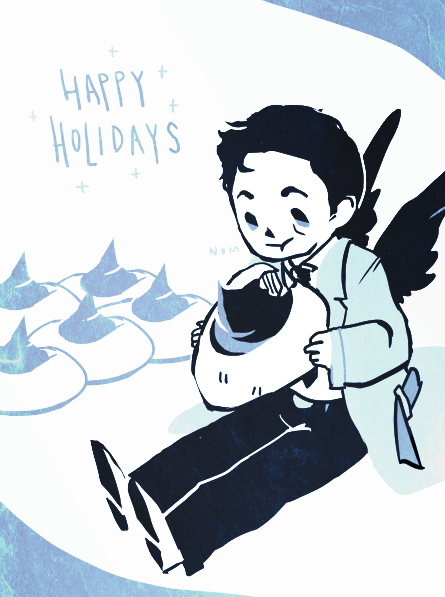Holidays greeting! One last doodle in between break!! I can't wait to go home and make sweets!!! alternate color scheme & cookie in the pic