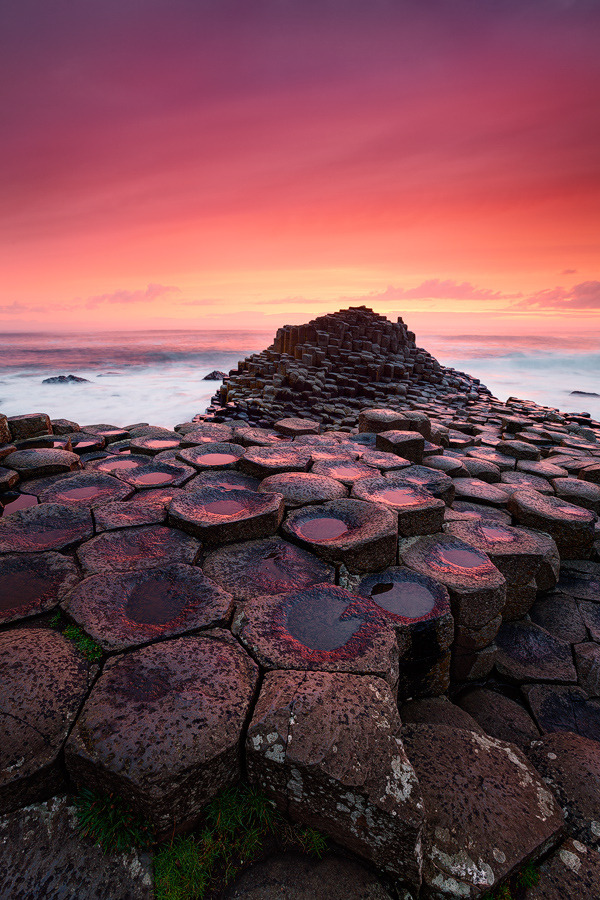 earthlynation:  Bloody Causeway by Michael Breitung   A sunset to remember at Giant's Causeway in Northern Ireland  MINECRAFT <3