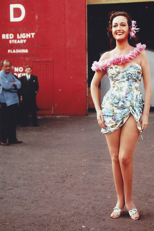 Dorothy Lamour on the set of The Road to Hong Kong, 1961