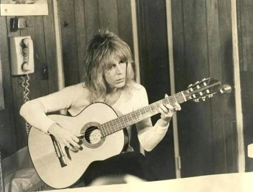 michaelkearney:  A photo of Randy Rhoads from an impromptu classical guitar performance on March 18, 1982, taken before a concert in Knoxville, TN. It was the last time he would ever pick up a guitar.