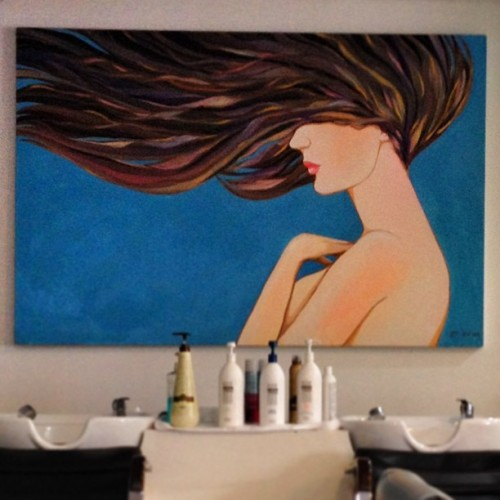 Girl on the wall. #painting #art #paint #arteverywhere #hair #fixture #salon (at Straight & Smooth)