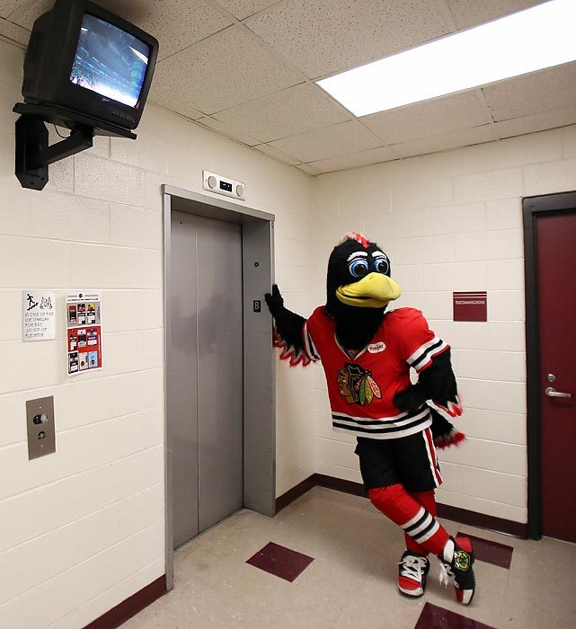 Blackhawks mascot Tommy Hawk waits for the elevator. The mascot is all smiles these days after Chicago started 7-0-2, good enough to lead the NHL with 16 points. (Jonathan Daniel/Getty Images) GALLERY: Did You See That?