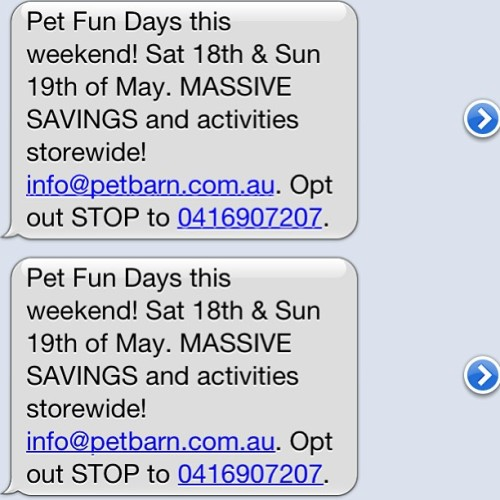 Hey @Petbarn I have received this text same text 5 times in the last hour. Borderline #Spam if you ask me. I respect your services but if you don't stop I'll be forced to take you of my buddy list!! (at Lindfield Oval)