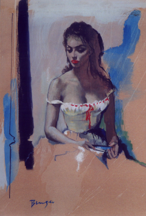 "withnailrules:  Sophia Loren study by Charles Binger (used as the cover for ""Blue Camellia"" by Francis Parkinson Keyes in 1960)"