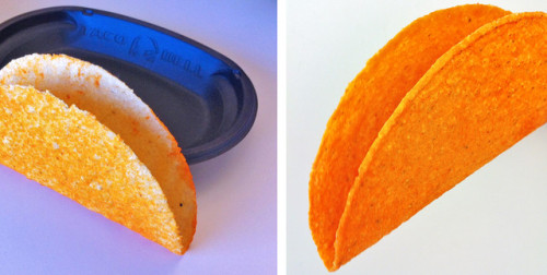 The Doritos Loco Taco prototype, left, next to the finalized shell I'm going to New York in one week… Guess what i'm getting