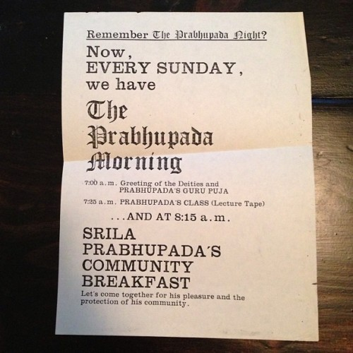 Found this flyer stuck in a old BTG issue donated to the Bhakti Archive #bhaktiarchive #prabhupada