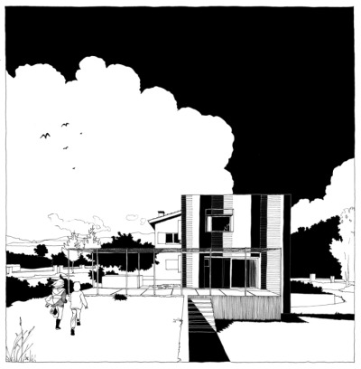 Sketches by Anna & Eugeni Bach All of their architecture projects are represented by intricately hand-drawn black and white sketches, just line work, no greys.