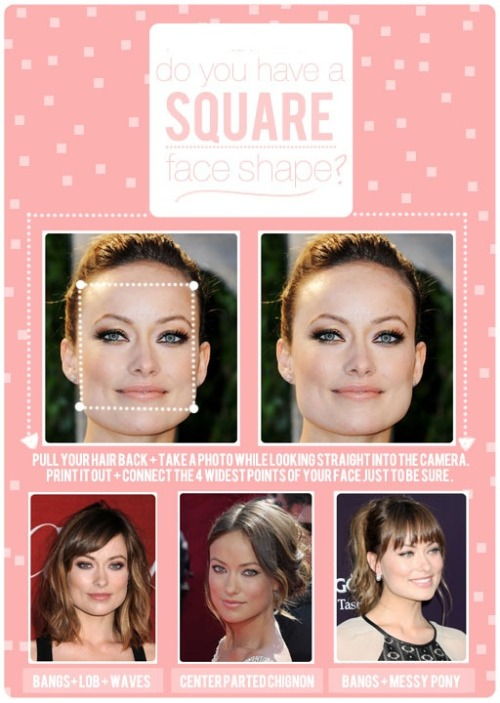 "HAIR TALK: SQUARE FACE SHAPE THE SQUARE: The goal with most face shapes we'll talk about will be to either love it/embrace it/wear it proud like Olivia Wilde does in the bigger picture above with all of her hair pulled off of her face OR to do what you can to down-play your shape if it's something that you don't love. If you're looking to down-play your square face shape, the goal will be to diffuse the 4 corners a little bit. Here are some great ways to do that.  SIDE SWEPT BANG- A soft, side swept bang that curves around (see bottom left photo) draws your attention more to the eyes instead of the corners of the jawline. That beautiful eye makeup doesn't hurt either! LOOSE NATURAL WAVES- With waves, you can create curves in all the right places. You can see how the hair curves in and diffuses the corners of Olivia's jawline ever-so-slightly (see bottom left photo). SLIGHTLY ANGLED LONG BOB (LOB)-The weight on a slightly angled bob is a tiny bit heavier up front near the face. That weight will keep the hair laying closer to your face and will also help down-play squareness. CENTER PART- A center part will conceal the upper corners of your square shape. I love Olivia's chignon here (see bottom center photo). The soft pieces that fall out in front lay lightly along the sides of her jawline which soften the square visually. CHOPPY BANGS- I don't usually recommend heavy blunt bangs for someone with a square face shape because it can make your jaw appear even more square, however if you want a heavier bang make them choppy and rounded on the sides (see bottom right photo). PONYTAIL- This is the best way to wear a ponytail with a square face shape, in my opinion. The messy texture and loose, soft pieces in front allow you to play up the fact that you have a great jawline (consider yourself lucky because some of us don't!) but the ponytail doesn't look severe. It's soft and feminine and works well with the harder lines of a square shape. TOP KNOT- If you want to wear a top knot either just go for it and let that jawline shine or try pairing it with a ""Bardot Bang"" (which you can find it right HERE) to soften it up. HAIRCUTS- No matter the length I always vote layers + waves, layers + waves, layers + waves! You can't go wrong with pairing layers + waves with a square face shape because no matter how long or short, it softens the lines. If you have straight hair and a square face shape, ask your hairstylist to show you how to create some waves that flatter your face! If you have wavy or curly hair, lucky you. Credit: The Beauty Department"