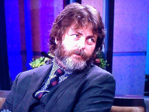 Nick Offerman, from The Tonight Show the other night. He's grown his hair out for a play that he's doing with his wife, one of the luckiest women in the world, Megan Mullally. It's okay; it's just messy. I like the coloring in his beard, though.