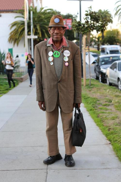 "humansofnewyork:  ""People see my buttons and think I'm a radical, but I just stand for peace! Except North Korea. We should handle them."""