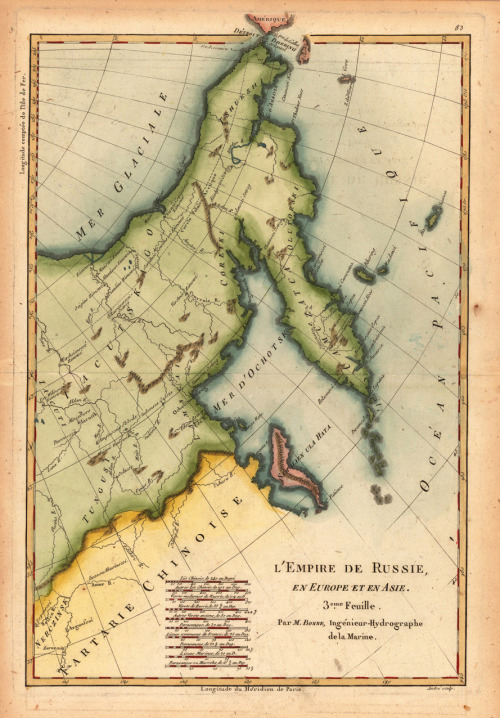 A map of Kamchatka & Tartary from The Russian Empire in Europe and in Asia by Rigobert Bonne, 1780 (via willigula)