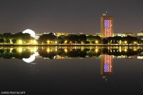 n-a-s-a:  MIT lit up tonight, across the Charles river from the attack site. Credit: Chris Pentacoff