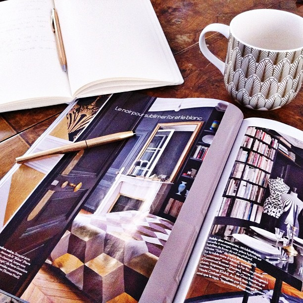 Studying French with a glossy Elle Deco…