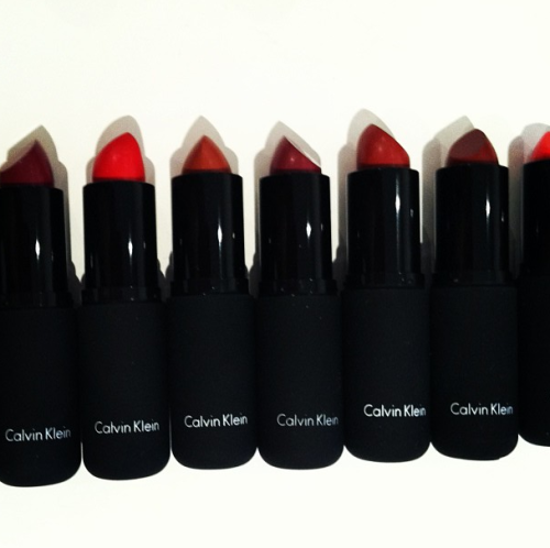 Lipsticks galore at the CK One Color launch. Pretty, glossy finish! Photographed by Lauren Drago.