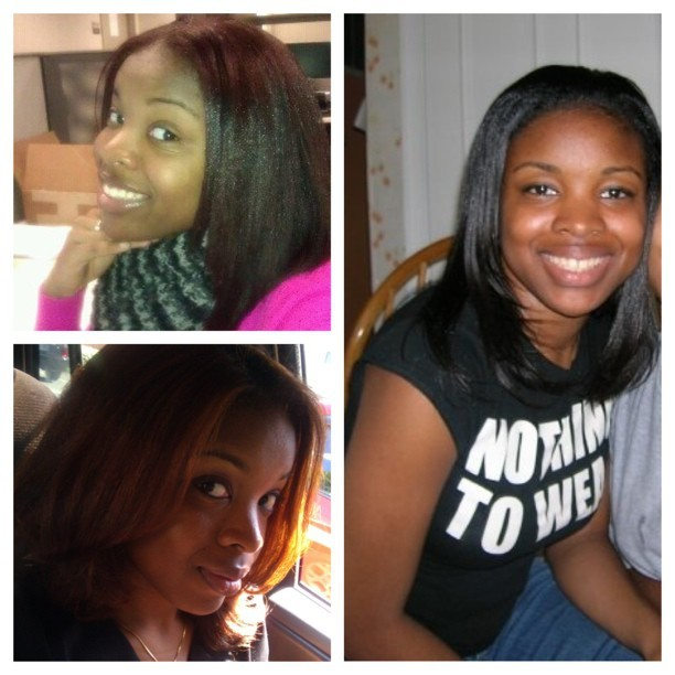 One of these pics were from my permed days. Other two are natural. Can you tell which? #bwnh #naturalhair #pressedhair #creamycrack #perms FYI, I am very embarrassed I even owned that shirt 🙈