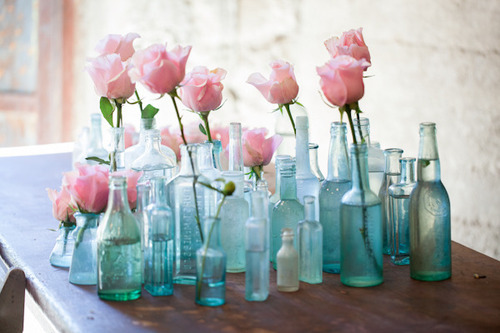 earth911:  Mismatched, recycled vases for your wedding look soooo much better than store bought! Agree? Check out even more ideas for a eco-friendly wedding.