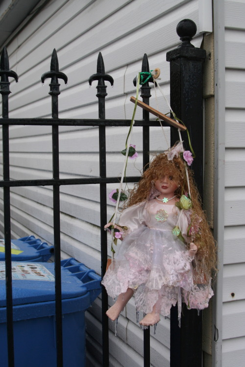 Could these people have picked a creepier object to hang from their back gate? That the doll is frozen and has icicles hanging off of it isn't helping matters. Photographed this morning in Chicago's Avondale neighborhood.