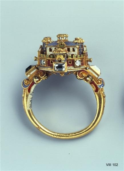 Ring with Castle maybe Italian, 2nd Half of 16th century  Oh, wow…imagine if this was silver toned Gothic architecture. And imagine I owned it/