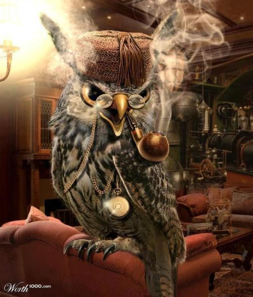 steampunkchat:  The Wise Owl  This is secretly how I always pictured Owl from Pooh Corner when he was safely at home and away from the rest of Christopher Robin's playmates.