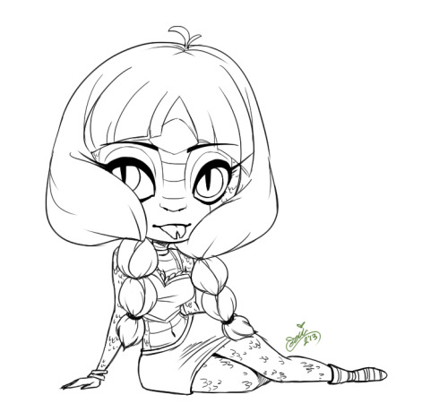 I really want the Create a Monster Gorgon Girl doll set ;W;! So I sketched an original character idea I'd want to try and do if I got one!! I don't have a name yet, but I hope to work on colors soon c: One day, I'll get her!!