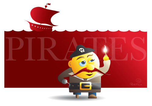 """Pirates"" Vectorillustration I made last year. I learned a lot by doing it, and it was great fun to do."