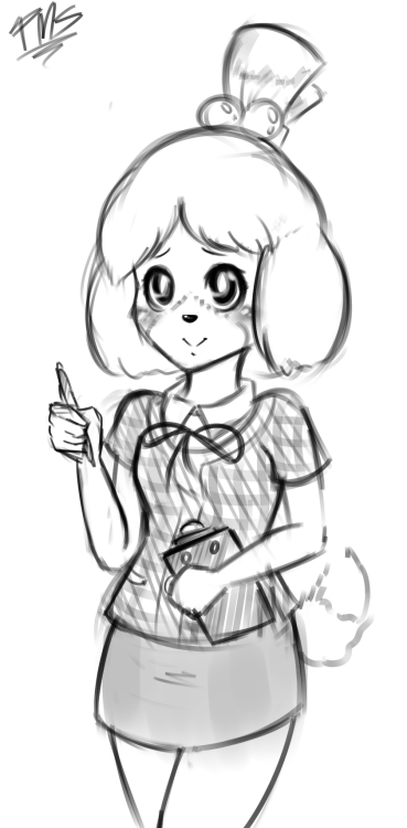A friend requested that I draw Isabelle(?) from the new Animal Crossing game for the 3DS. So I did a quick drawing and tried my best to make her cute somehow. I tried ;~;