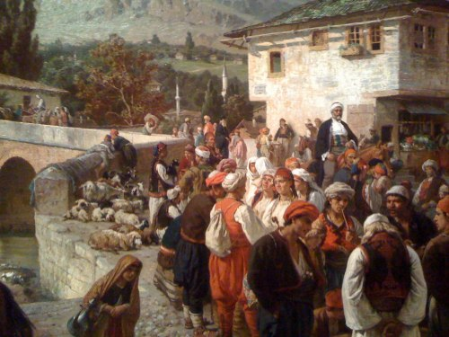 balkan-thug:  An oil-painting of Bosnians in Sarajevo. by Alois Schönn, 1883.