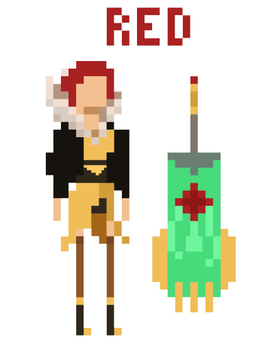 sketchesofexclaimation:  A 8bit version of Red, from Transistor!