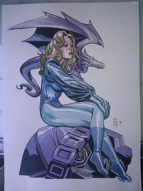 landroid:  Kitty Pryde and Lockheed by Ted Naifeh. Commission.  12 x 16 watercolor.  Good LAWD. Still taking HeroesCon and private commissions. Email TedNaifehArt@gmail.com