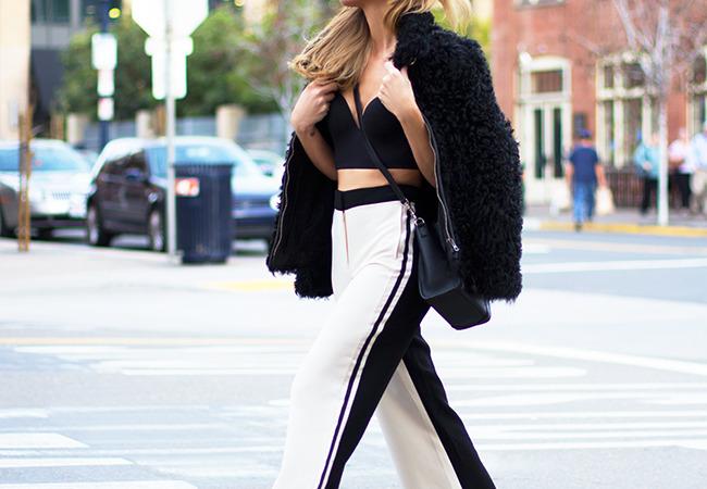 (Sunglasses -Celine, Coat - Etoile Isabel Marant, Top -Cosabella, Bag -Celine, Trousers -Sachin & Babi, Sandals -Saint Laurent)