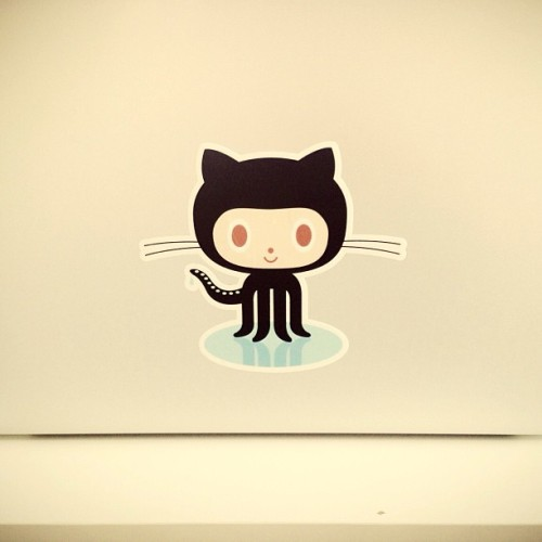 Finally my #octocat sticker has arrived straight from San Francisco! 3 quid well spent!