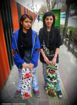 haveyouevercriedwolf:  Skater girls seen in Vanak Square in Tehran, Iran. [photo cred: Nooshafarin, Humans of Tehran]  Radical Muslim Extreme(Sport)ists,
