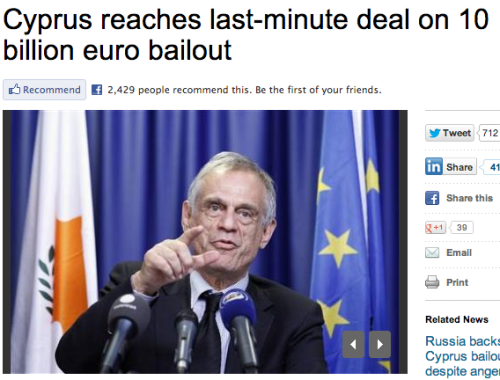 "Alternate headline: Cyprus government reaches last-minute deal to secure funds from citizens bank accounts  Without a deal, Cyprus's banking system would have collapsed and the country could have become the first to crash out of the European single currency. Swiftly backed by euro zone finance ministers, the plan will spare the Mediterranean island a financial meltdown by winding down the largely state-owned Popular Bank of Cyprus, also known as Laiki, and shifting deposits below 100,000 euros to the Bank of Cyprus to create a ""good bank"". Deposits above 100,000 euros in both banks, which are not guaranteed under EU law, will be frozen and used to resolve Laiki's debts and recapitalize Bank of Cyprus through a deposit/equity conversion."