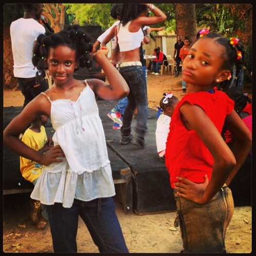 two girls strike a pose at our Liberia Day event in Ghana