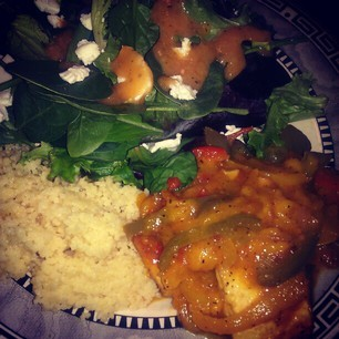 Hey Fran! Sweet and Sour Mango tofu with couscous (becoming a favorite) and a salad with goat cheese and miso ginger dressing.  The mango sauce is so on point! I got the recipe from Nerissa Irving's YouTube Channel. This was my first time trying out tofu and it was pretty good! I'm only eating seafood now and I needed an alternative to fish. I'm so proud of myself. Submitted by | rickysuavemami