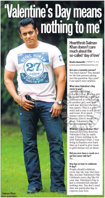 "★ (Interview) ""Valentine's Day means nothing to me"" Heartthrob Salman Khan doesn't care much about the so-called 'day of love' !"