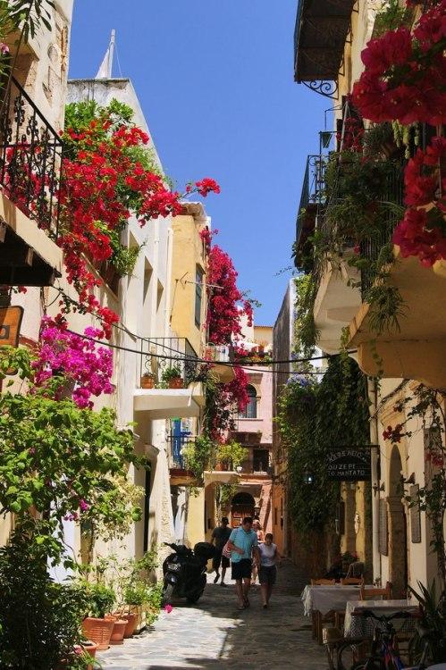 greece crete chania old town street balcony flowers