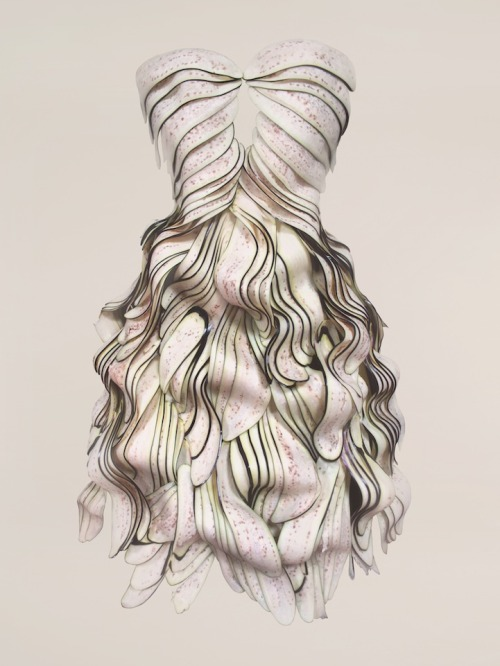 "archiemcphee:  These gorgeous dresses are part of an awesome series entitled Wearable Foods. Created by Korean artist Yeonju Sung, each of these beautiful garments was elaborately made of edible materials such as red peppers, eggplants, bananas, green onions, lotus roots, white radishes, tomatoes, and red cabbage. The bottom two pieces are made of bubble gum.  While one may categorically define Sung's good-enough-to-eat collection as sculptural foodwear, it is just as much a photographic series. The artist explains, ""I create my own world of reality by generating a completely different set of images that contradict the conventional notion of food and clothes. As time goes by, the food from my work do go through a progression of disappearance due to the nature of food and gets gradually changed into the hideous state fading its shape and color in the process…""  Visit My Modern Metropolis to view more tantalizing edible couture from Yeonju Sung's Wearable Foods series."