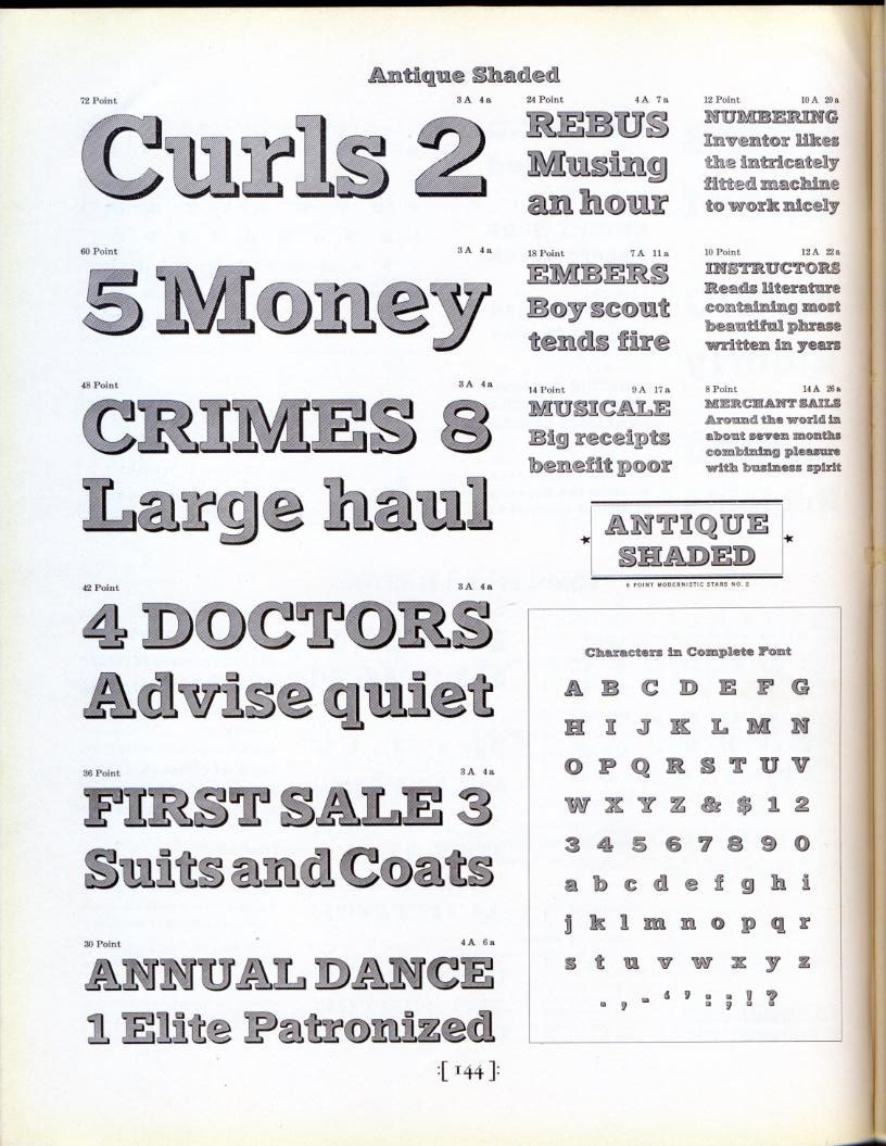 dailyspecimen:  This is a specimen of Antique Shaded, designed by Morris Fuller Benton in 1910. It was released in 1913 to herald ATF's shaded type series.  Just bought a font of this (10pt metal type) from eBay! Excited to start using it.