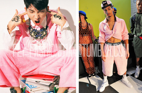 [FLY-FASHION FIND] We love how B1A4 can pose so naturally in photo spreads, especially in this freshly released teaser photo of Baro being completely himself. You can totally feel his energy. That's our vitamin Baro! We found him wearing a bubblegum pink top and cropped bottoms from London-based designer Nasir Mazhar! (Note* The model is not wearing the same top Baro is wearing. We couldn't find a proper photo of the separate pieces.) Btw, how do you guys feel about him going back to black hair? Do you prefer him with this, or his lighter hair? Image credit: B1A4.com, vogue.co.uk