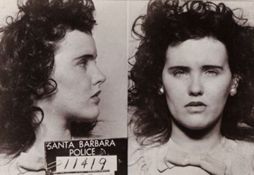 Elizabeth Short, aka the Black Dahlia, arrested on September 23, 1943 for underage drinking.