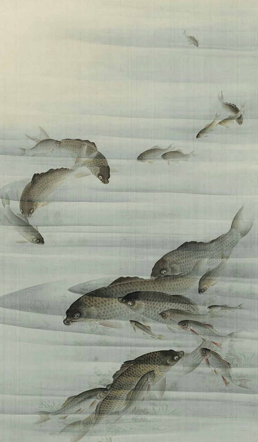 "thegiftsoflife:  Carp"".  Main detail of a hanging scroll; ink and color on silk,  19th century, Kyoto, Japan by artist Yuko. MFA"