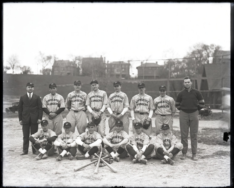 Apprentice Plumbers baseball team, Milwaukee Area Technical College, 1925-1929. via: Milwaukee Area Technical College